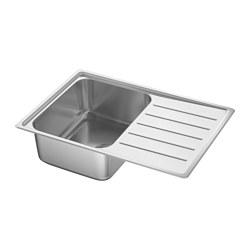 VATTUDALEN - Inset sink, 1 bowl with drainboard, stainless steel