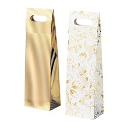 VINTER 2020 - Gift bag for bottle, stripe pattern/floral pattern white/gold-colour