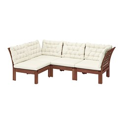 ÄPPLARÖ - Modular corner sofa 3-seat, outdoor, brown stained/Kuddarna beige