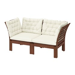 ÄPPLARÖ - 2-seat modular sofa, outdoor, brown stained/Kuddarna beige