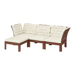 ÄPPLARÖ - 3-seat modular sofa, outdoor, with footstool brown stained/Kuddarna beige