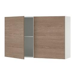 KNOXHULT - Kabinet dinding dg pintu, efek kayu/abu-abu, 120x75 cm