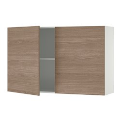KNOXHULT - Wall cabinet with doors, wood effect/grey