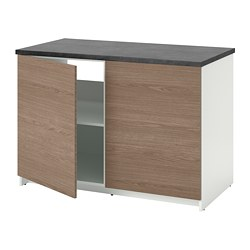 KNOXHULT - Base cabinet with doors, wood effect/grey, 120x85 cm
