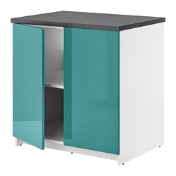 KNOXHULT - Base cabinet with doors, high-gloss/blue-turquoise