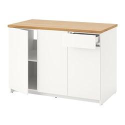 KNOXHULT - Kabinet dasar dg pintu dan laci, putih, 120 cm
