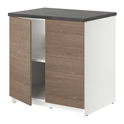KNOXHULT - Base cabinet with doors, wood effect/grey