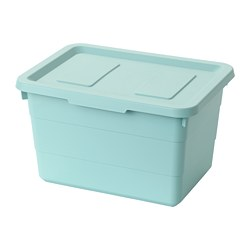 SOCKERBIT - Storage box with lid, light blue
