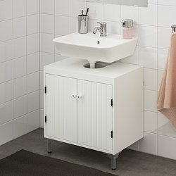 TYNGEN/SILVERÅN - Kabinet dasar wasatafel dg 2 pintu, putih/Keran Lillsvan