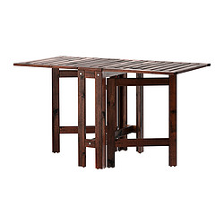 ÄPPLARÖ - Gateleg table, outdoor, brown stained