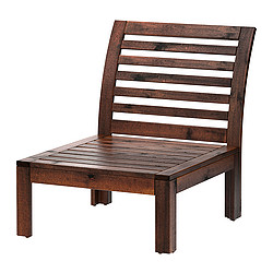 ÄPPLARÖ - One-seat section, outdoor, brown stained
