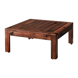ÄPPLARÖ - Table/stool section, outdoor, brown stained