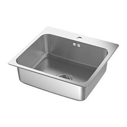 LÅNGUDDEN - Inset sink, 1 bowl, stainless steel