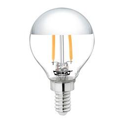 SILLBO - Bohlam LED E14 140 lumen, bulat/bag atas bercermin diwarnai perak