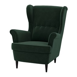 STRANDMON - Wing chair, Djuparp dark green