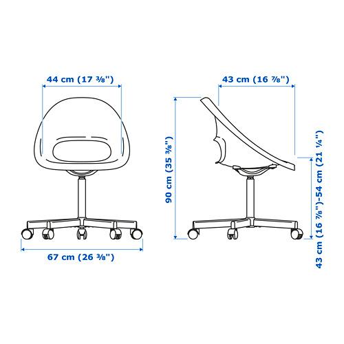 BLYSKÄR/ELDBERGET - kursi putar dengan alas , merah/putih   IKEA Indonesia - PE777158_S4