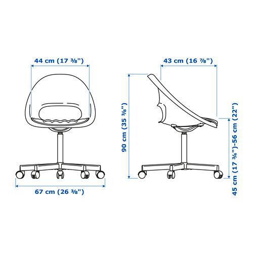 BLYSKÄR/LOBERGET - kursi putar dengan alas , putih/abu-abu tua | IKEA Indonesia - PE777166_S4