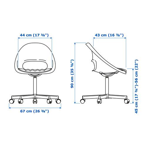 BLYSKÄR/LOBERGET - kursi putar dengan alas , putih/merah   IKEA Indonesia - PE777165_S4