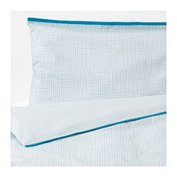 KLÄMMIG - Quilt cover/pillowcase for cot, turquoise