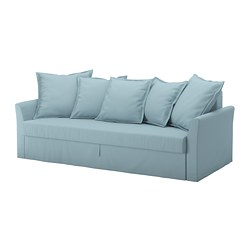 HOLMSUND - Three-seat sofa-bed, Orrsta light blue