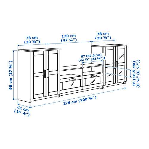 BRIMNES TV storage combination/glass doors