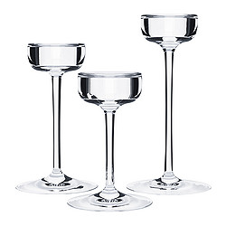 BLOMSTER - Candle holder, set of 3, clear glass