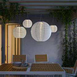 SOLVINDEN - LED solar-powered pendant lamp, outdoor/globe white