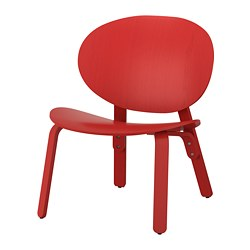 FRÖSET - Kursi malas, warna merah veneer kayu oak