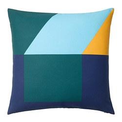 MAJALISA - Sarung bantal kursi, biru/hijau/kuning