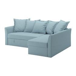 HOLMSUND - HOLMSUND, sofa tempat tidur sudut, Orrsta biru muda
