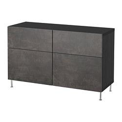 BESTÅ - Kombinasi penyimpanan dg pintu/laci, hitam-cokelat Kallviken/Stallarp/abu-abu tua kesan beton