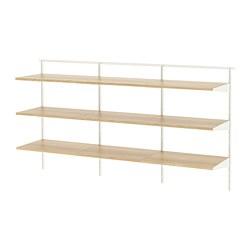 BOAXEL - BOAXEL, 3 bagian, putih/kayu oak, 187x40x101 cm