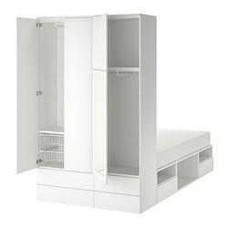 PLATSA - Rangka tmpt tdr dg 4 pintu + 6 laci, putih/Fonnes Ridabu