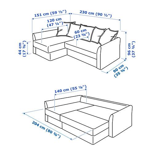 HOLMSUND sofa tempat tidur sudut