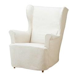 STRANDMON - Sarung kursi berlengan, krem