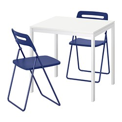 NISSE/MELLTORP - Table and 2 folding chairs, white/dark blue-lilac