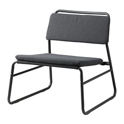 LINNEBÄCK - LINNEBÄCK, easy chair, Vissle dark grey