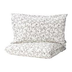 KOPPARRANKA - Sarung quilt dan 2 sarung bantal, putih/abu-abu tua, 200x200/50x80 cm