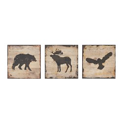 BJÖRNAMO - Picture, set of 3, animals