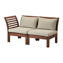 ÄPPLARÖ - Sofa mdlr dua dudukan, luar ruangan, cokelat/Hållö krem