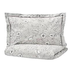 PRAKTBRÄCKA - Quilt cover and 2 pillowcases, light grey/white