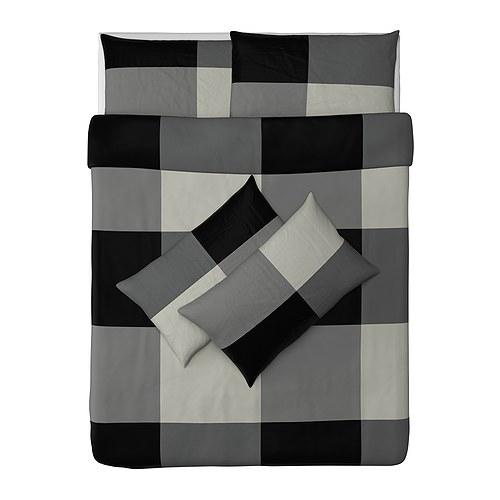 BRUNKRISSLA sarung quilt dan 4 sarung bantal