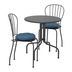 LÄCKÖ - Meja+2 kursi, luar ruang, abu-abu/Ytterön biru