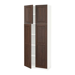 METOD - High cabinet with shelves/4 doors, white/Edserum brown
