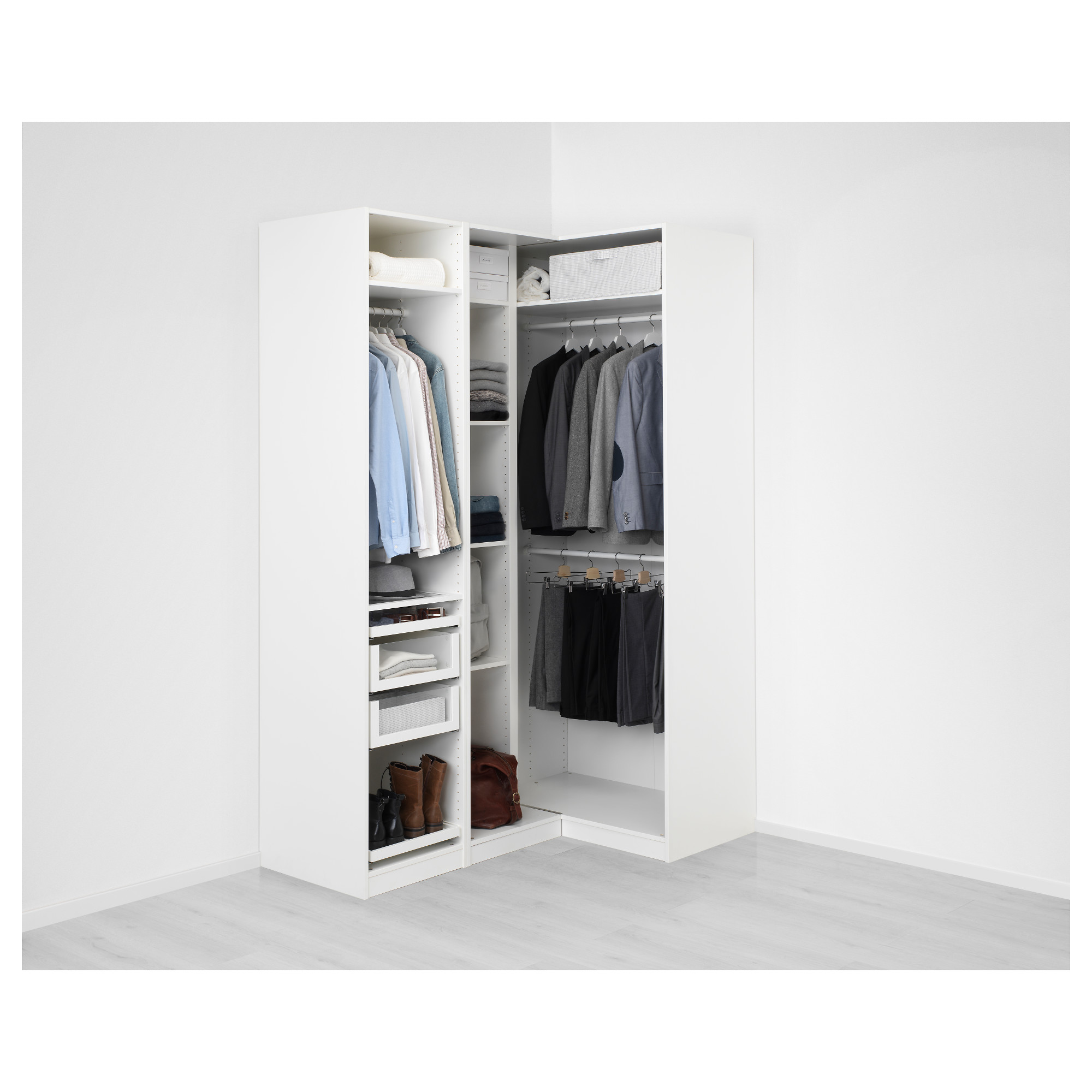 Pax Corner Wardrobe White Fardal High Gloss White Ikea