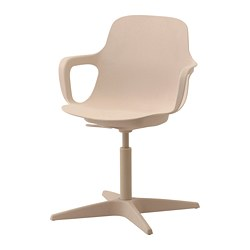ODGER - Swivel chair, white/beige