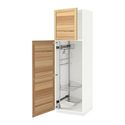 METOD - METOD, kbinet tinggi dg interior kbersihan, putih/Torhamn kayu ash, 60x60x200 cm