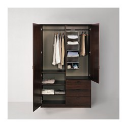 MUSKEN - Wardrobe with 2 doors+3 drawers, brown