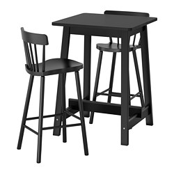 NORRARYD/NORRÅKER - Meja bar dan 2 bangku bar, hitam/hitam