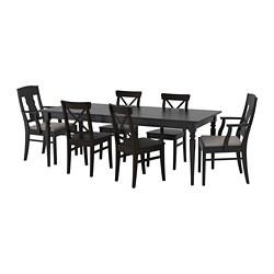 INGATORP/INGOLF - Meja dan 6 kursi, hitam/Nolhaga abu-abu/krem
